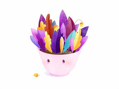 Autumn tea cute colors flowerpot pink nature leaf acorn character floral drinks texture cup vector illustration tea