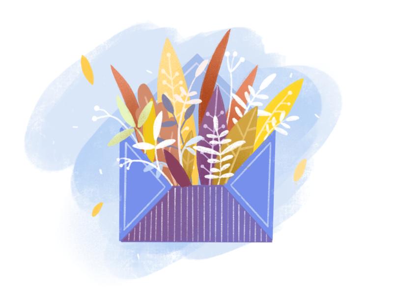 Envelope art email letter mood autumn leaves blue post office bouquet design illustration autumn mail