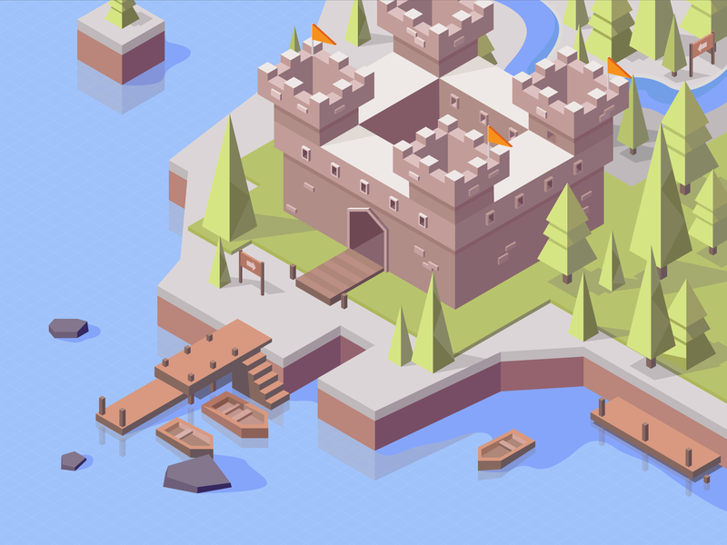 Castle 2.5d mobile isometry 2d mobilegame land illustration forest boat tower palace background gameart location art environment game vector