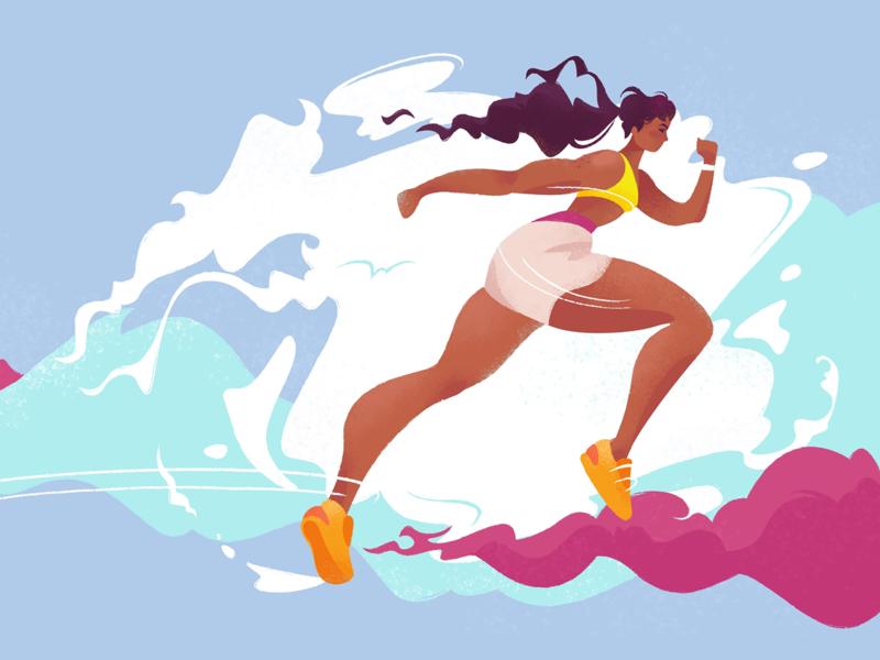 Training training health body woman sports illustration colors character runner run fitness sport design