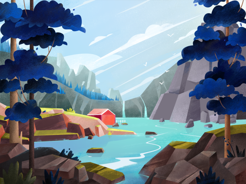 Forest background adventure waterfall nature illustration relax house landscape lake outdoors trail mountain clouds outside tree sky nature texture web vector illustration