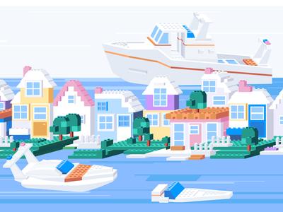 Legoland flat simple model geometic 2d children house boat ship bricks web colors isometric isometry 2.5d vector illustration