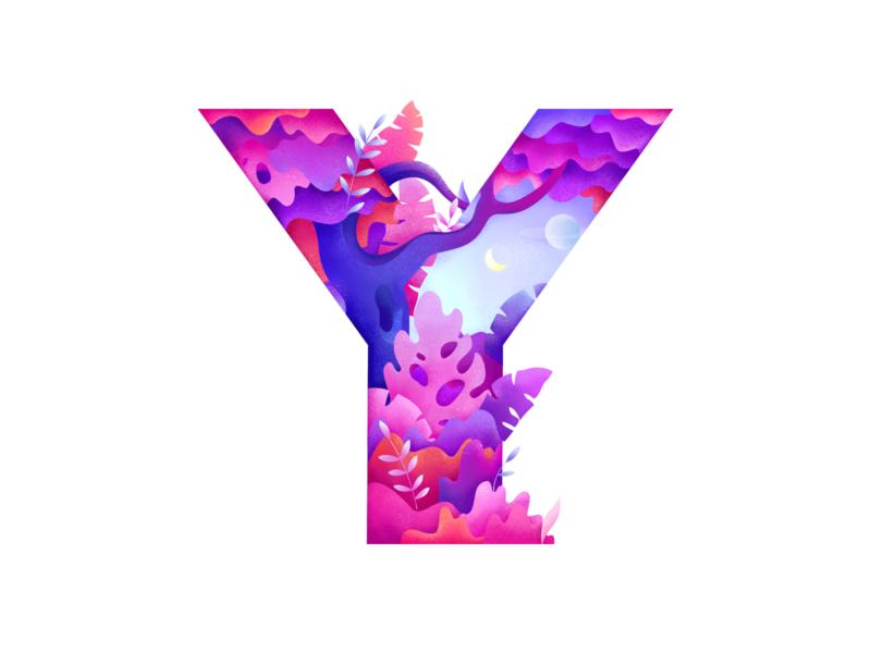 Y Letter forest tree logo type kids typography letter lettering gradient alphabet plants moon design illustration texture pink 36daysoftype