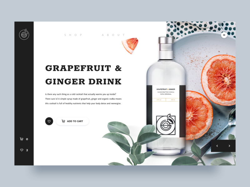 Grapefruit Drink - Product Page Concept natural web shop clean environment product page user experience website design interface typogaphy minimal ux ui concept product vodka grapefruit drink cart store