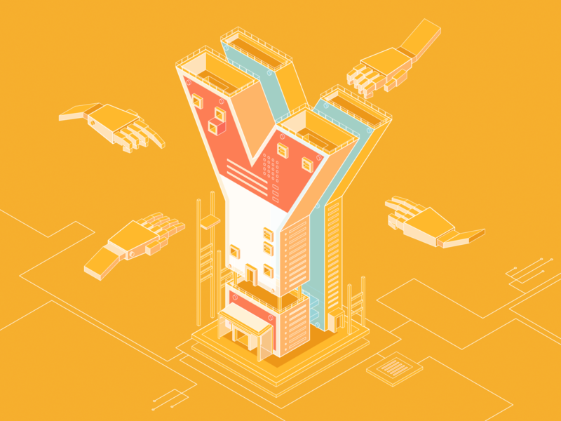 Isometric letter tech isometric design architecture system flat illustration ui design robotic technology code graphic building robot type 2.5d isometry vector simple typogaphy