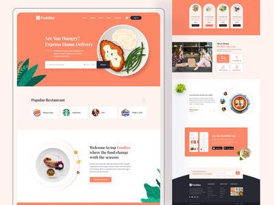Foodies - Food Website ui designer saddam foodies restaurant typography yummy website web ux ui tasty startup service pizza interface food service food delivery delicious