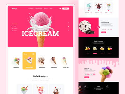 Malai - Ice Cream Shop Website Design simple clean minimal marketplace drop ship celebration cake shop buy waffle     birthday gifts vanilla sweet smoothie juice ice lolly ice cream shop ice cream cream cookie cone chocolate candy