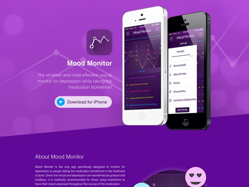 Mood Monitor Landing landing page home website app ios apple
