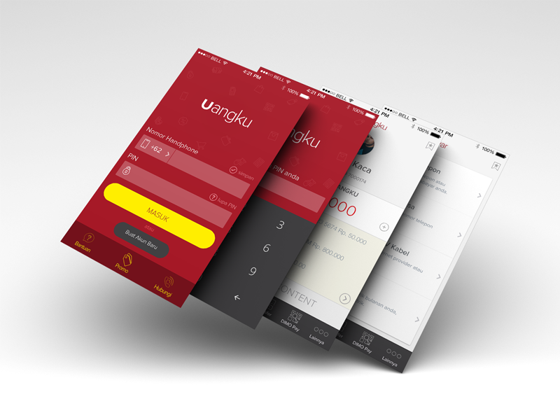 Uangku App (Launched) ios app android app ios 8 ewallet emoney mockup design layout icons appstore playstore