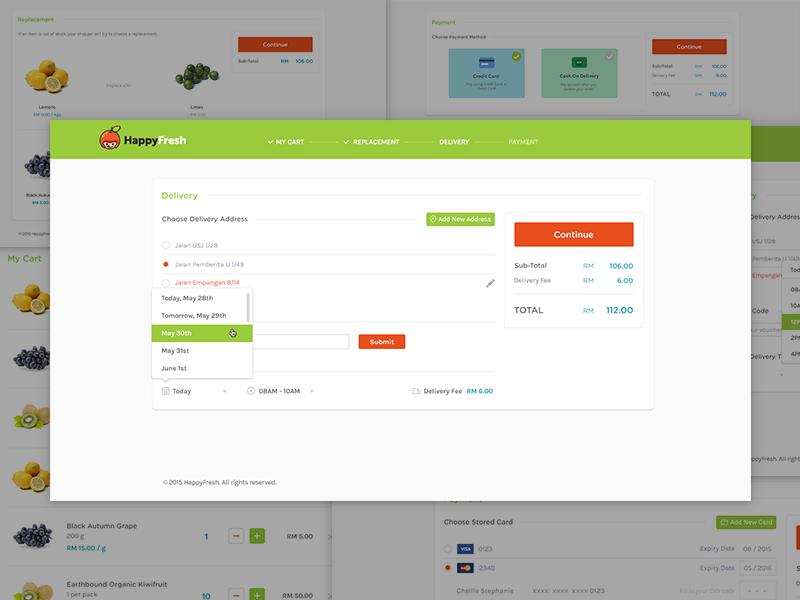 Checkout Process webapp design checkout orange green white light e-commerce ecommerce website ui design