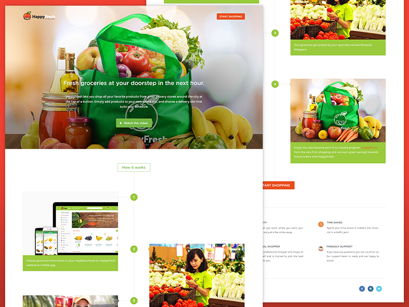 How it work - HappyFresh icon image store e-commerce online store green white clean user interface ui design web design website