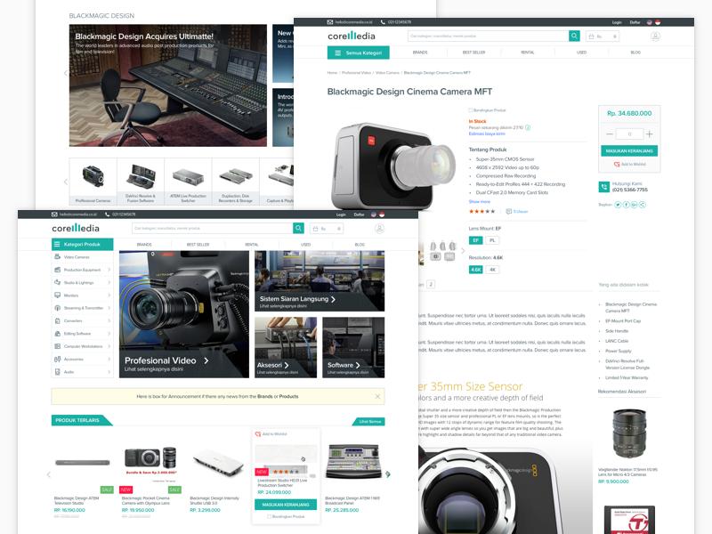Audio Video Marketplace (Coremedia) store navigation feature card design widget detail page landing page audio video website ecommerce marketplace