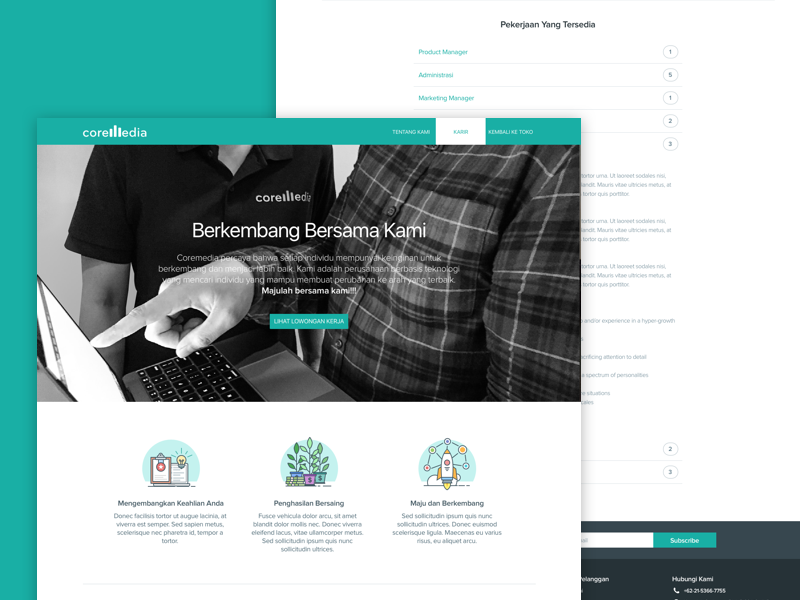 Career Page features icons accordion hero banner vacancy landing landing page career ui design