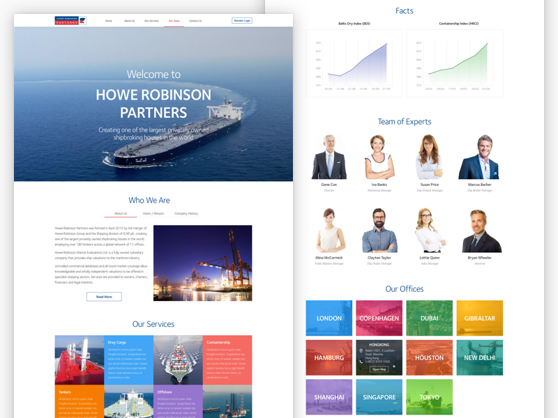 Shipping Company Landing website ui design modern colors ship landing