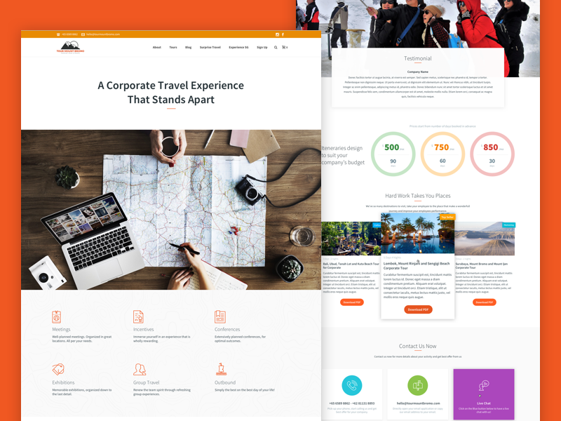 Corporate Travel icons graphic user interface ui design hero banner mockup experience highlight tours travel website
