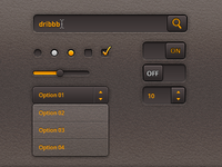 Orange on a leather UI kits