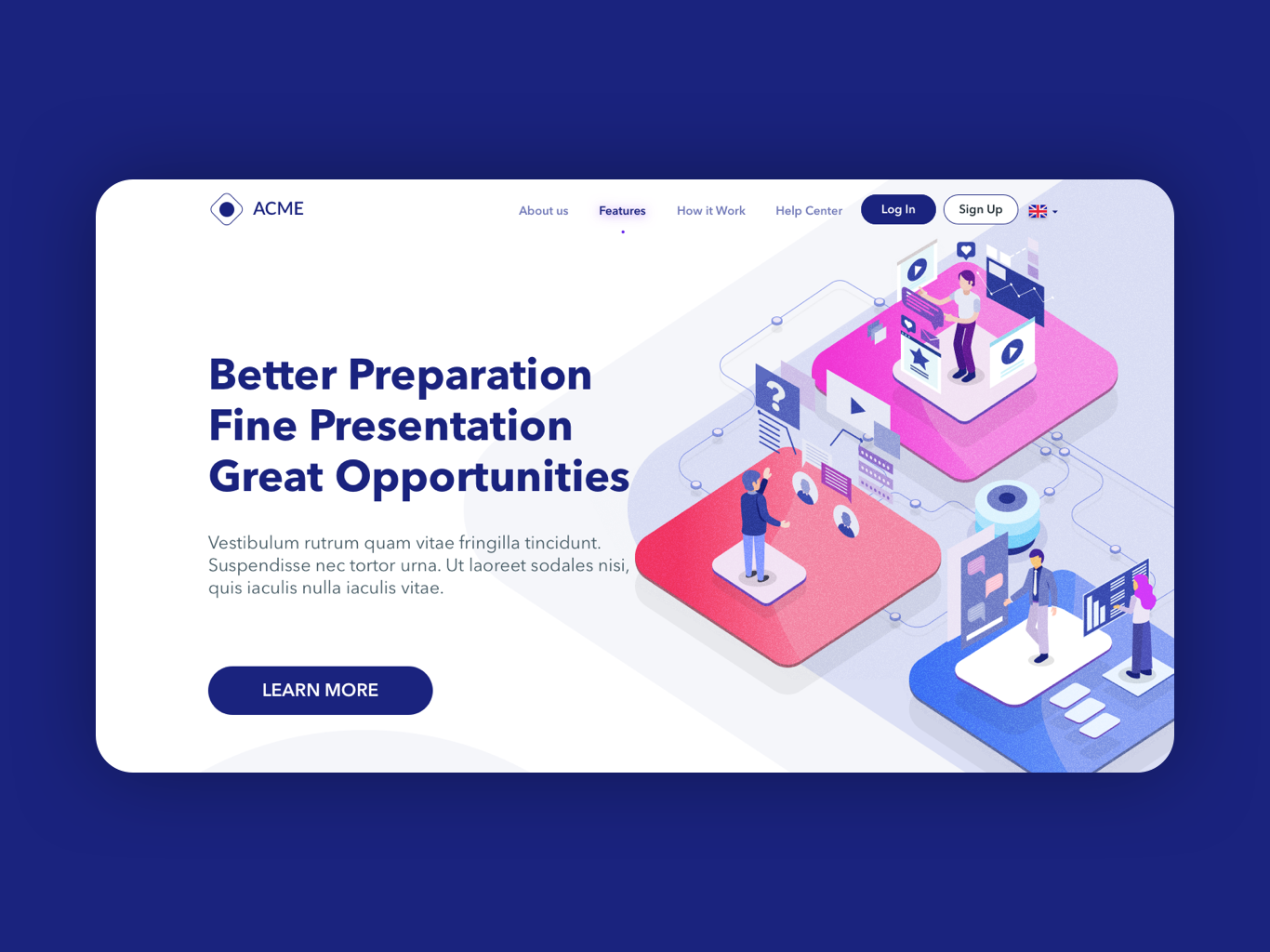 Talent Coaching Banner isometric illustration navigation header banner hero talent coaching website user interface uiux ui design
