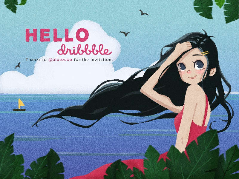 Hello,Dribbblers! debut illustration plant first girl dribbble hello