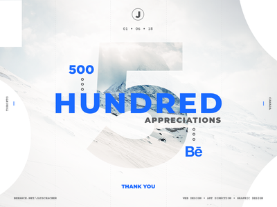 Behance Milestone 500 Appreciations