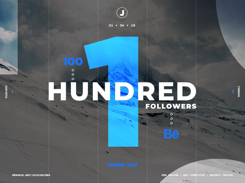 600 followers on instagram on behance Behance Milestone 100 Followers By Jay Schacher On Dribbble