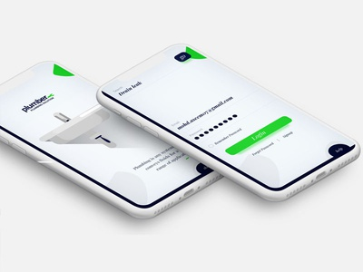 Plumber app concept. ux logo typography concept booking login iphone app