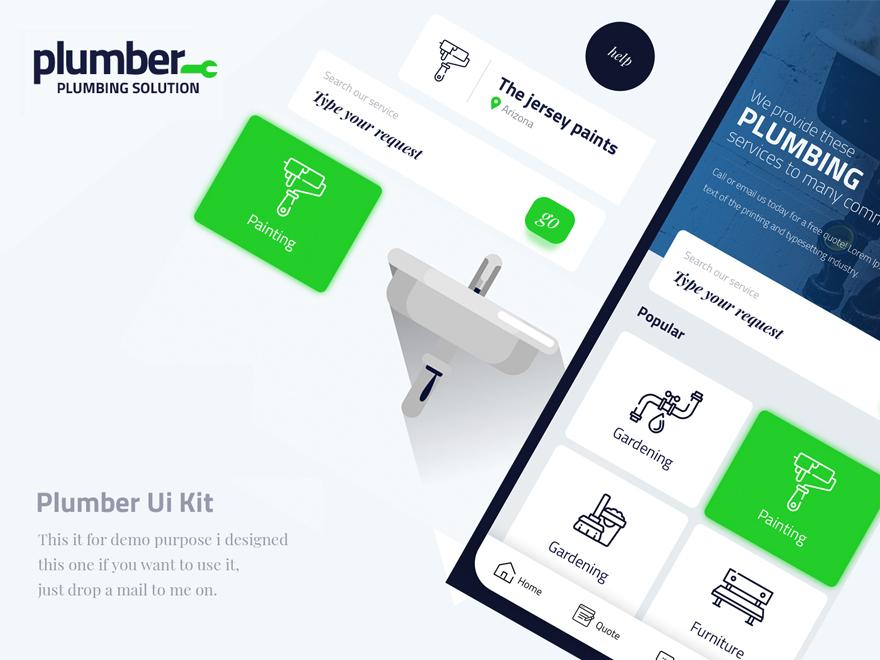 Plumber app ui kit by Mohammed Aseem Riyaz on Dribbble