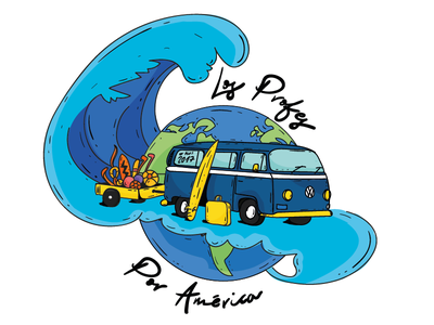 Volkswagen trip mochilero trip travel world alaska america illustration volkswagen