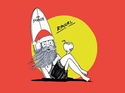 Illustration Santa Claus for Holidays rip curl navidad merry christmas papa noel