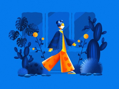 Covid life girl walking dribbble blue ipadproart illustraion procreate graphicdesign covid19