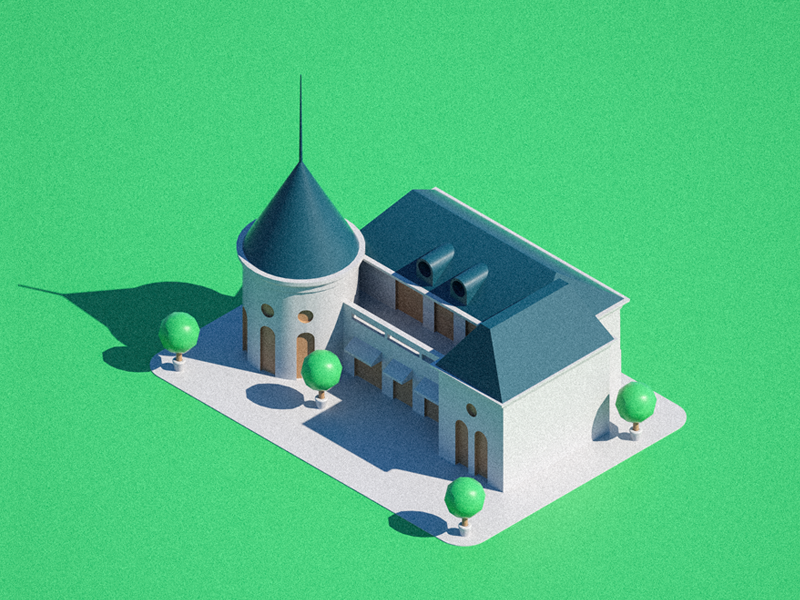 Low poly isometric chateau hotel chateau green architecture cinema4d isometric illustration 3d