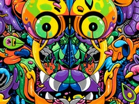 Watcher, I. paintings acrylic watching traditional weird ornate mask painting illustration eyes colorful artwork art