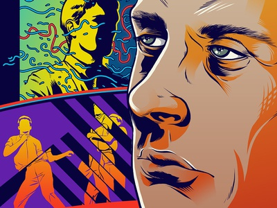 Ian Curtis band music illustration colorful photoshop drawing