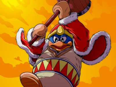 King Dedede Colors smash bros nintendo illustration ink line art comic photoshop kirby