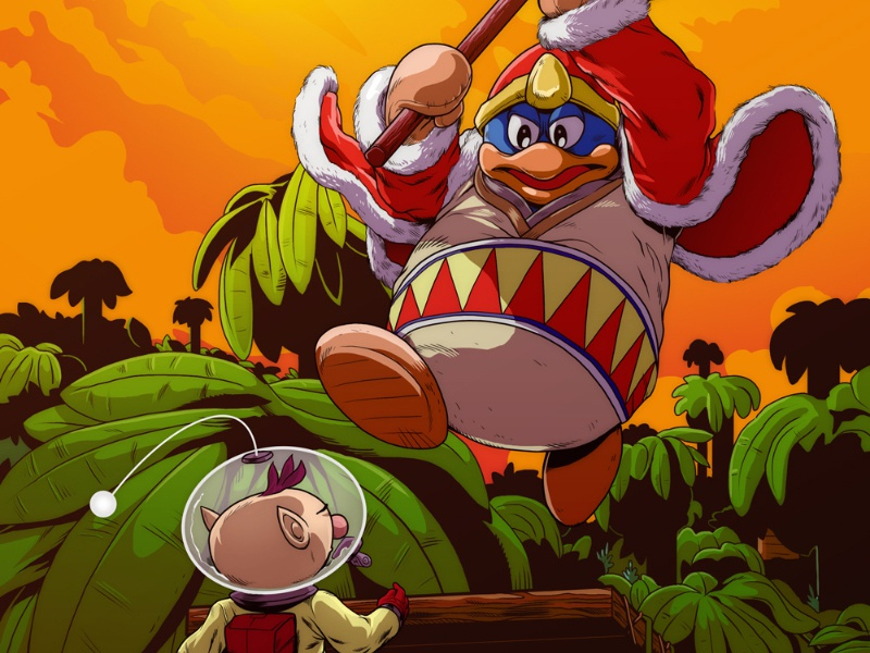 King Dedede Vs Olimar nintendo smash brothers super kirby pikmin illustration art adobe photoshop wacom