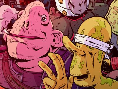 Mercenary & Blindman concept character aliens color photoshop space scifi illustration