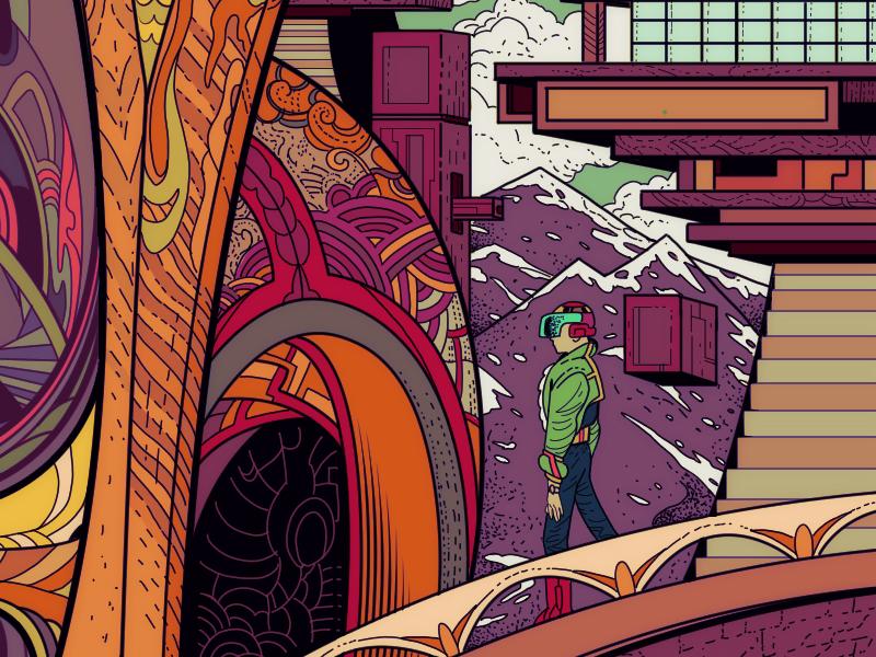 Future Hijack 2 mountains bridge surreal purple media man lineart illustration future colorful clipstudiopaint
