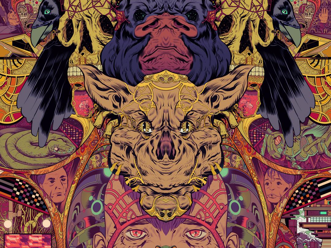 Future Hijack decorative locust snake technology portrait lineart colorful detail skull crow gorilla bat print poster art illustration clip studio paint