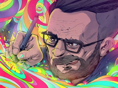 Self Portrait wacom glow drawing color clip studio paint illustration twitch