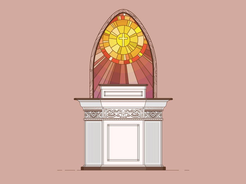 Pulpit podium sun cross christianity preacher bible church colorful stained glass illustrator vector
