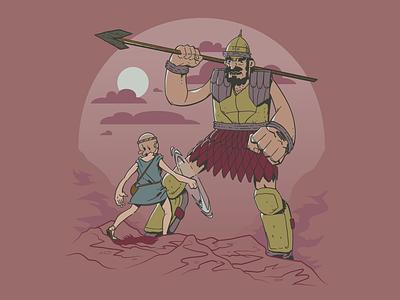 David & Goliath color illustrator vector illustration sun childrens art kids battle giant fight judaism christianity bible