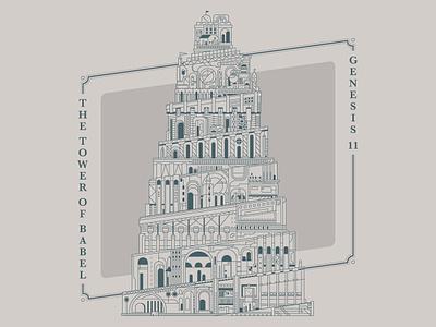 The Tower of Babel christianity bible skewed flat building ornate illustration line art vector