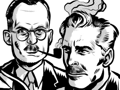 Portraits mustaches pipe editorial illustration men portraits art illustratioin ink black and white