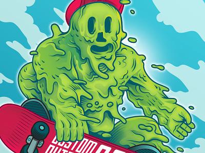 Slime Skater sky red green goop ollie skateboard illustration illustrator vector monster slime