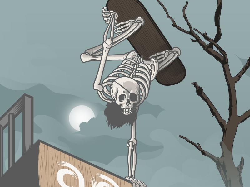 Skull Skater illustration dead tree vector eyepatch beard illustrator skateboard skater halfpipe