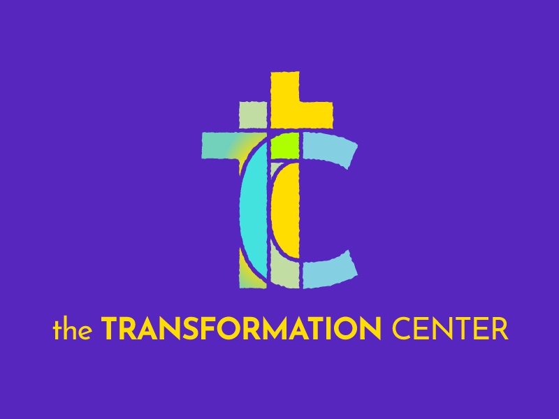 The Transformation Center | Logo counseling therapy christian cross stained glass custom type type purple blue green yellow logo vector colorful