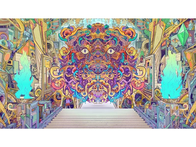 Taken Temple digital fire sacred tiger tech temple weird sci-fi symmetry clip studio paint drawing art