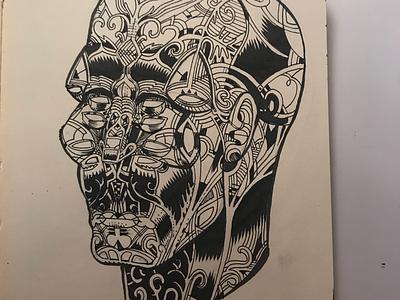 Day 5   Inktober 2019 sketchbook drawing ink decorated ornate weird eyes inktober2019 inktober