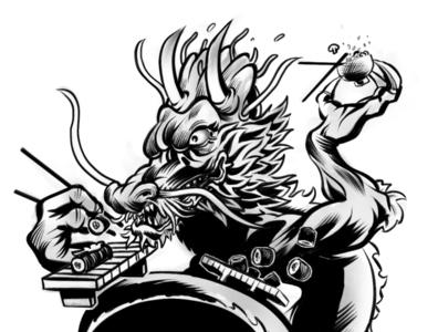 Dragon Chow black and white shrimp horns illustration food rice sushi dragon japanese culture