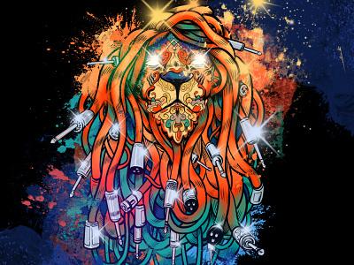 Rasta Music Lion xlr light colorful ornate cables music lion illustration