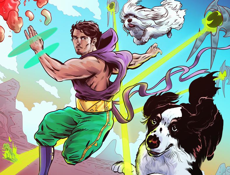 Nipri Music Illustration No. 1 comic art clouds lasers aliens adobe photoshop clip studio paint colorful landscape sci-fi dogs comic portrait musician dj music art illustration music